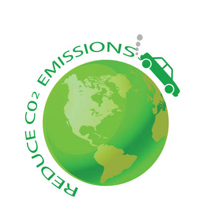 environmentalism: Green earth with car reduce CO2 message Illustration