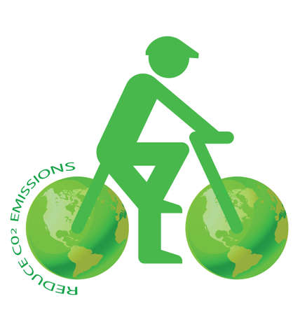 toxic emissions: Pushbike with green earth wheels C02 message
