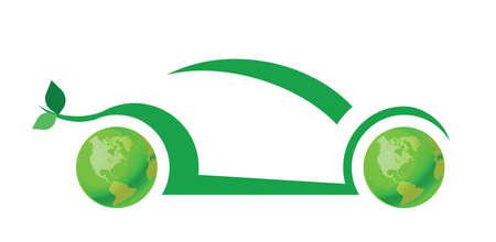 dioxido de carbono: Concepto de coche verde aislada sobre fondo blanco Vectores