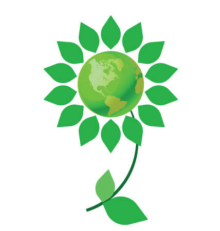 climate change: Environmental climate change flower with green earth