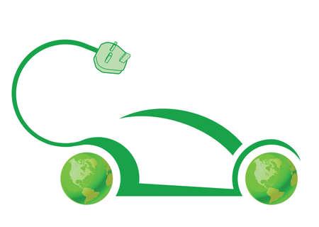 Concept de technologie de voiture électrique isolé sur fond blanc Vecteurs