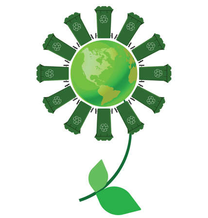 Recycling wheelie bin flower with green earth Vector