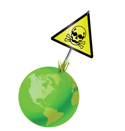 toxic emissions: Green earth toxic sign isolated on white background Illustration