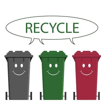 Gelukkige recyclingsbakken die op witte achtergrond worden geïsoleerd Stock Illustratie