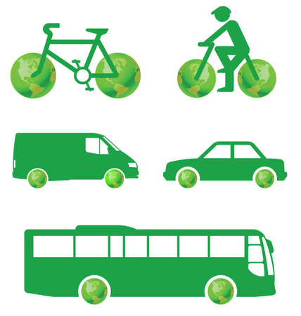 toxic emissions: Green transport concept isolated on white background Illustration
