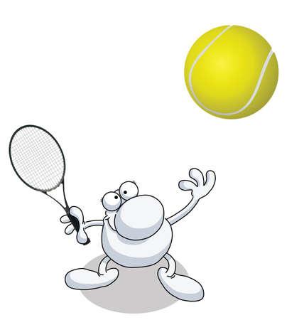 테니스 흰색 배경에 고립에서 봉사하는 사람 일러스트