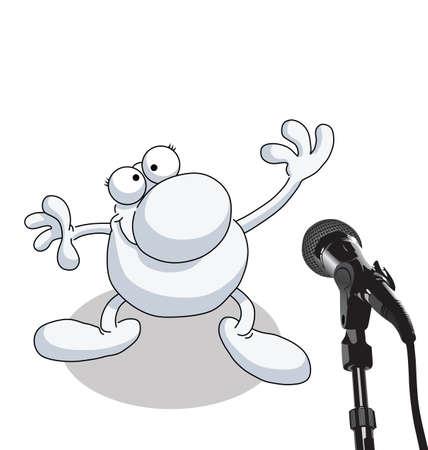 oratoria: Hombre da entrevista aislada sobre fondo blanco