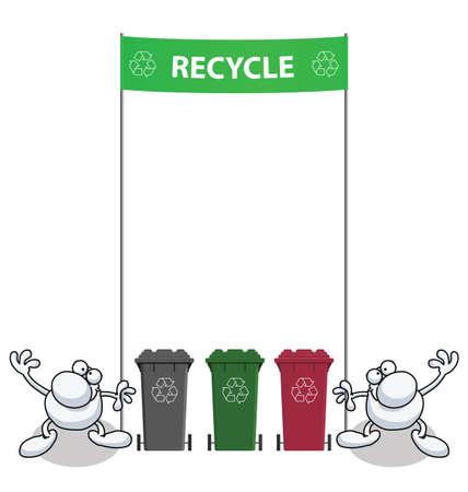 garbage bin: Hombres sosteniendo una bandera verde con mensaje de reciclaje Vectores