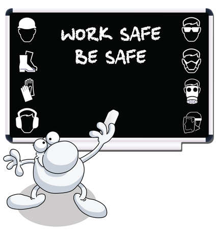 building safety: Construction health and safety message on blackboard