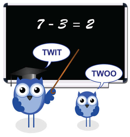 Owl teacher with pupil getting the wrong answer Vector