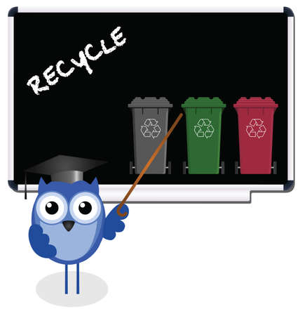 Owl teacher with recycling message on blackboard Vector