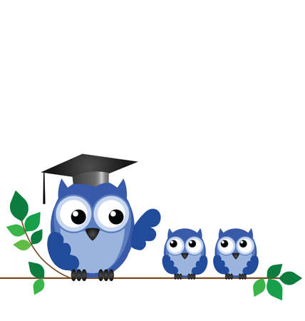 Owl teacher and pupils sat on a tree branch with copy space Vector