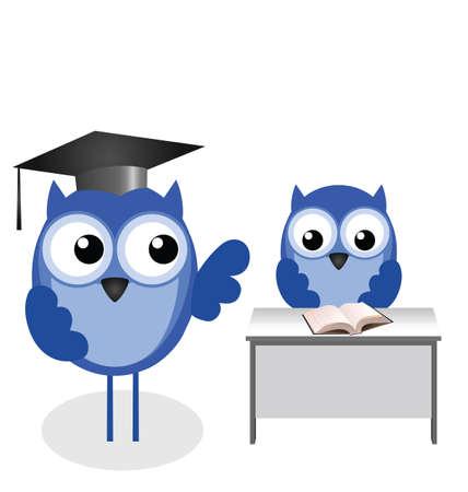 Uil leraar en leerling met een kopie ruimte Stock Illustratie