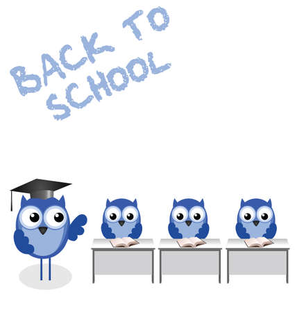 tutor: Owl teacher and pupils back to school Illustration