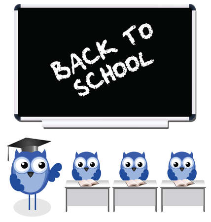 Owl teacher and pupils back to school Vector