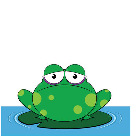 lilly pad: Frog sat on a Lilly pad with copy space