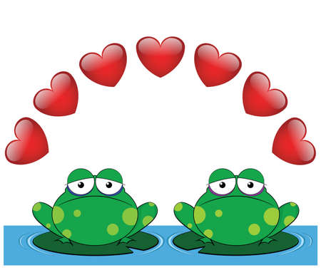 Frog valentine lovers sat on Lilly pads Vector