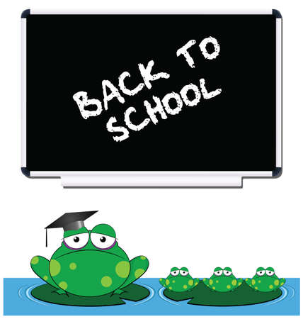 Frog teacher and pupils back to school Vector