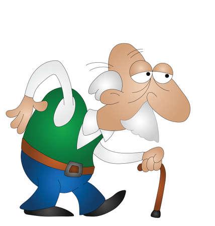 hombre calvo: Anciano con bast�n aislado en fondo blanco Vectores