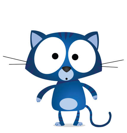 moggie: Cartoon blue cat isolated on white background  Illustration