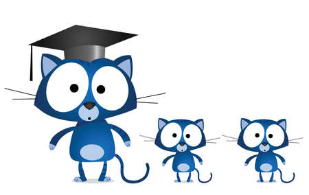 Cat teacher and pupils isolated on white background Stock Vector - 9721652