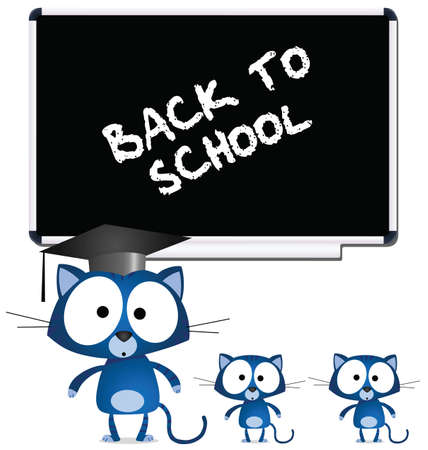Cat teacher and pupils back to school Vector