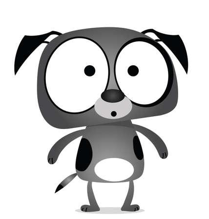 Cartoon grey dog isolated on white background Reklamní fotografie - 9733032