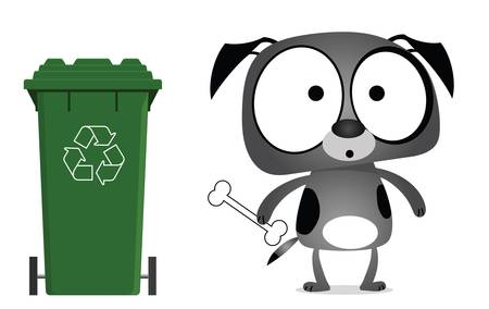 recyclable waste: Dog recycling message isolated on white background