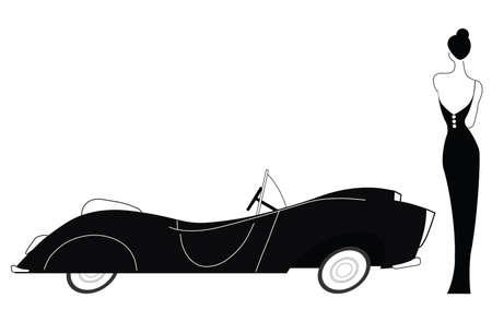 Vintage auto en stijlvolle dame geïsoleerd op witte achtergrond Stock Illustratie