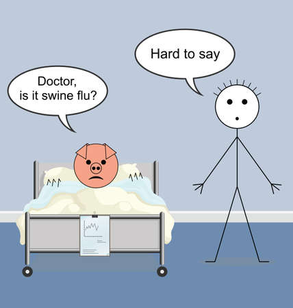 infirmity: Doctor quack on the hospital ward and swine flu Illustration