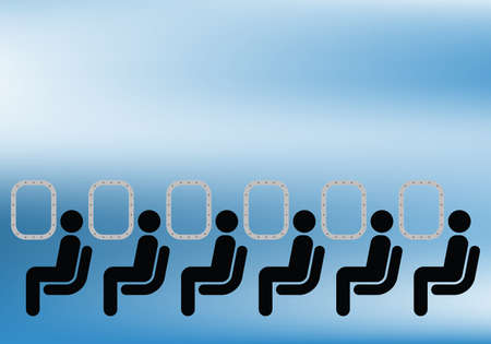 Airline passengers seated on a plane against blue sky Vectores