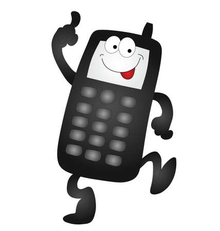 texting: Cartoon mobile phone isolated on white background