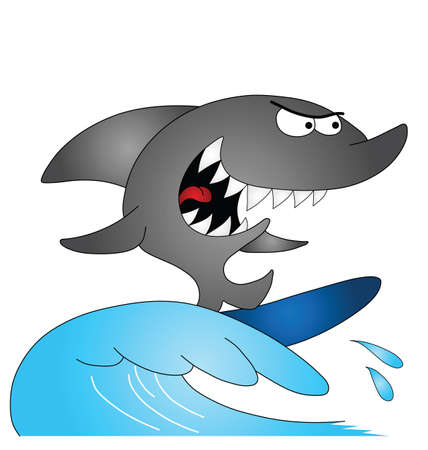 cartoon surfing: Cartoon shark surfing isolated on white background