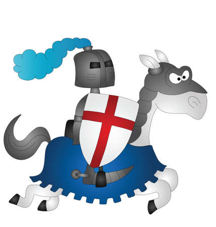 steed: Cartoon Saint George riding on his horse  Illustration