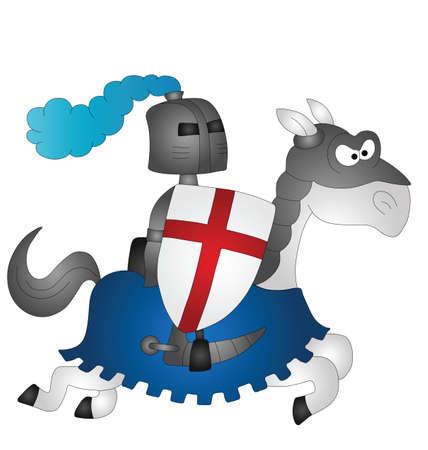 montañas caricatura: Dibujos animados Saint George montado en su caballo