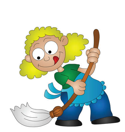 caricature woman: Cartoon housewife sweeping the floor with a broom