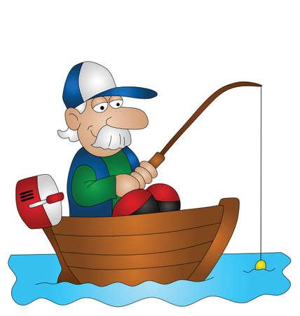 barca da pesca: Pescatore pesca dalla barca di cartone animato isolato su sfondo bianco