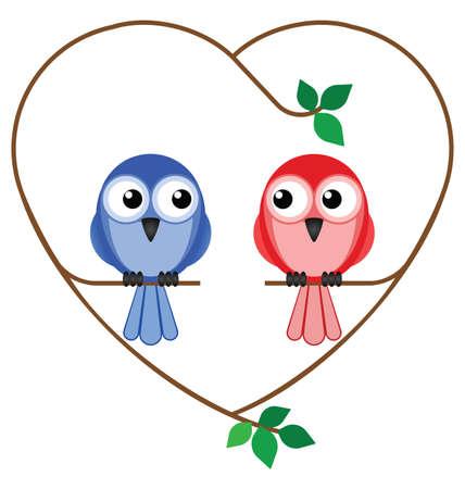 발렌타인 소녀와 소년 새 심장 나뭇 가지에 앉아 일러스트