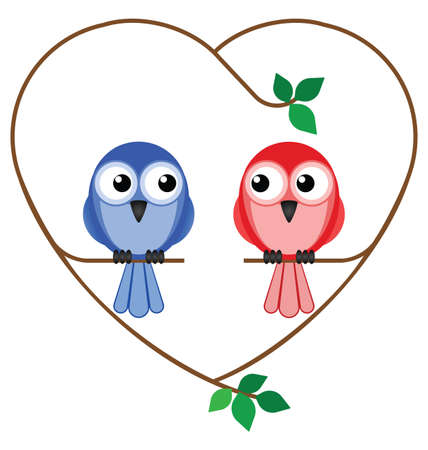 Valentine girl and boy birds sat on a heart branch