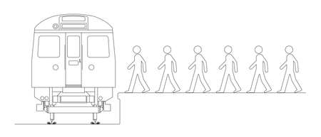 Line drawing of commuters boarding a train to work Stock Illustratie