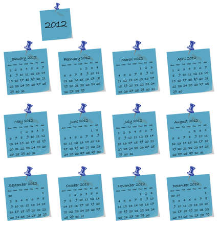 prompt: 2012 calendar on blue hand written memo pads Illustration