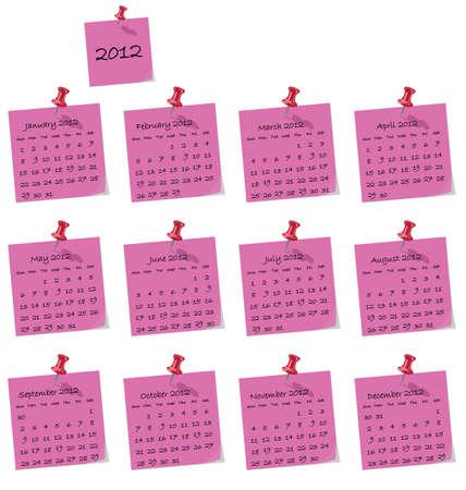 2012 calendar on pink hand written memo pads Stock Vector - 10346423