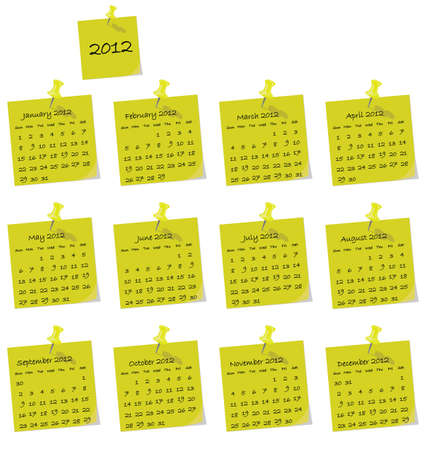 2012 calendar on yellow hand written memo pads