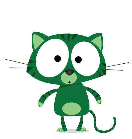 Cartoon green cat isolated on white background  Ilustração