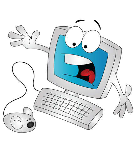 amused: Cartoon computer being scared by the mouse isolated on white background