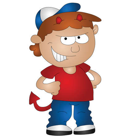 Cartoon boy being a devil isolated on white background Vectores