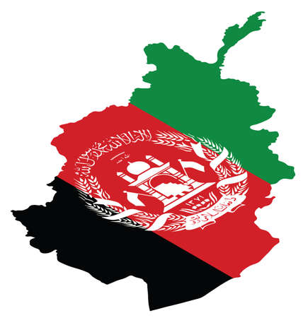afghan: Isometric map of Afghanistan as national flag Illustration