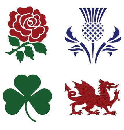 brytanii: Wielka Brytania symbole narodowe na białym tle