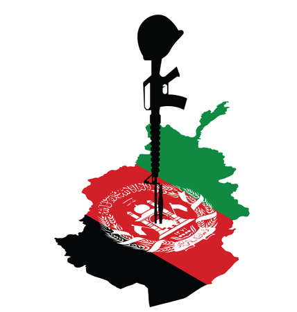 afghane: Isometrische Karte von Afghanistan und Gewehr des gefallenen Soldaten