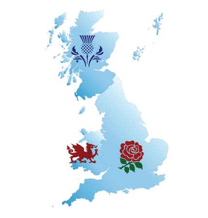 ostrożeń: Mapa Wielkiej Brytanii z emblematami narodowej